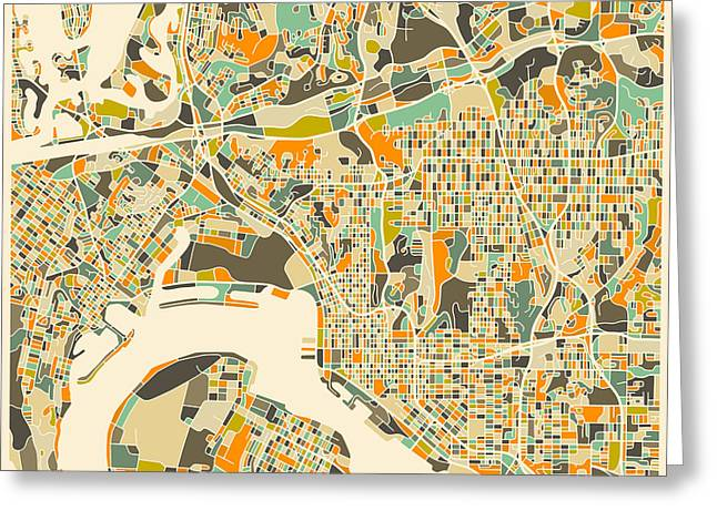 San Diego Map Greeting Card by Jazzberry Blue