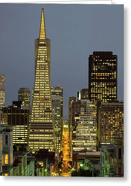 Downtown San Francisco Greeting Cards - San Francisco Ca Greeting Card by Panoramic Images