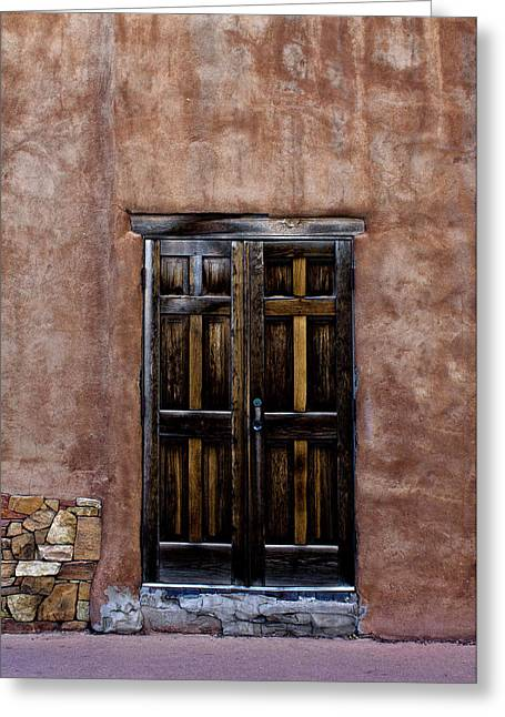 Wooden Building Greeting Cards - Santa Fe Greeting Card by Elena Nosyreva