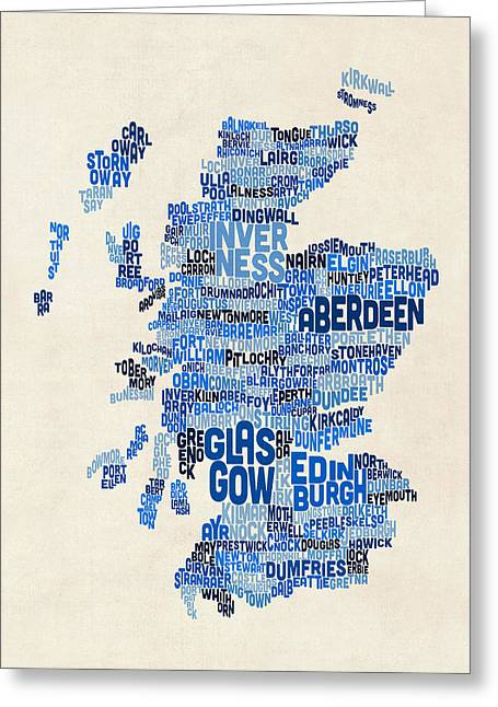 Maps Greeting Cards - Scotland Typography Text Map Greeting Card by Michael Tompsett