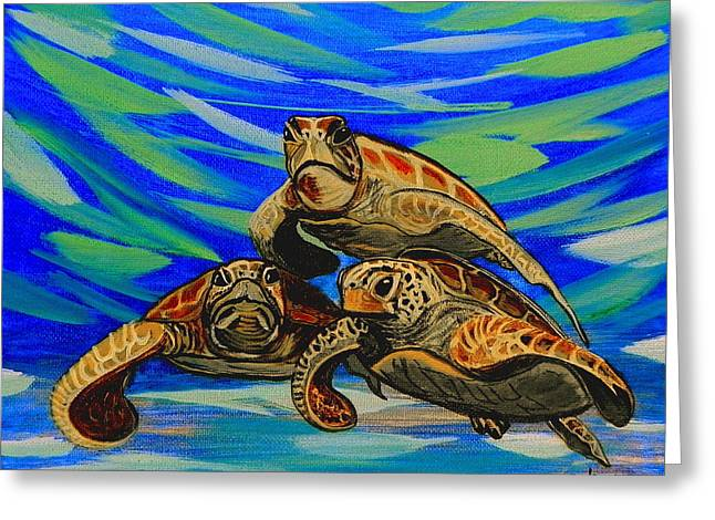 Sea Animals Greeting Cards - Sea Turtles Greeting Card by W Gilroy