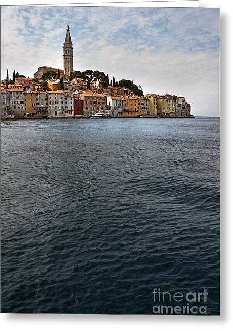 Seaside Town Greeting Card by Svetlana Sewell