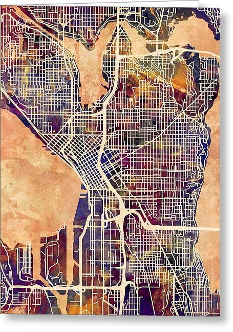 Streets Greeting Cards - Seattle Washington Street Map Greeting Card by Michael Tompsett