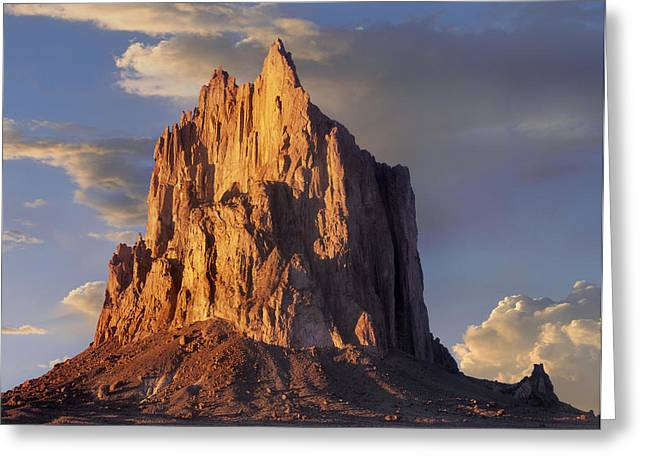 Geological Formations Greeting Cards - Shiprock The Basalt Core Of An Extinct Greeting Card by Tim Fitzharris