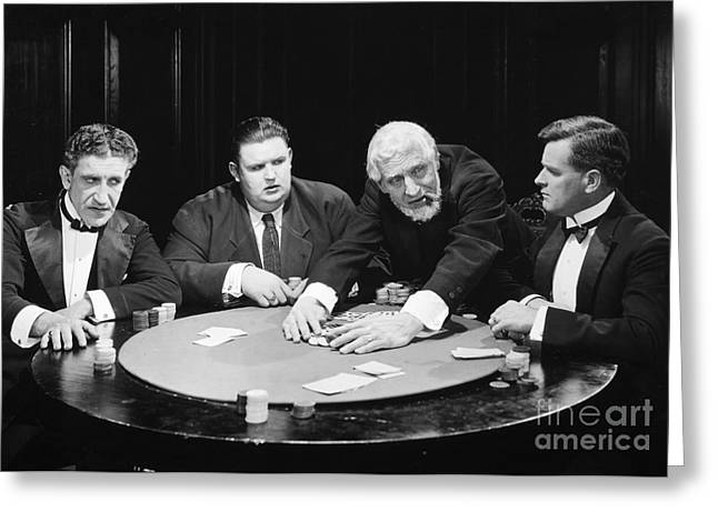 Playing Cards Greeting Cards - Silent Film Still: Gambling Greeting Card by Granger