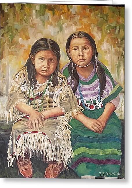 American Cowboy Gallery Greeting Cards - Sisters Watching Greeting Card by Peggy Selander