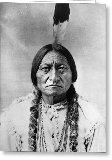 Indian Chief Greeting Cards - Sitting Bull (1834-1890) Greeting Card by Granger