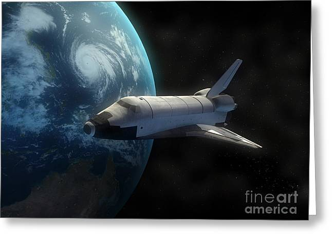 Blue Planet Greeting Cards - Space Shuttle Backdropped Against Earth Greeting Card by Carbon Lotus