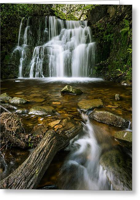 Blur Greeting Cards - Spring Waterfall In A Remote Peaceful Forest. Greeting Card by Daniel Kay