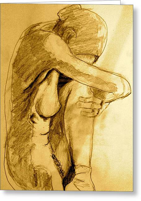Nude Drawings Greeting Cards - Studio Sketch Greeting Card by Dan Earle