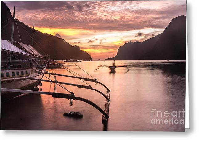 Boats In Water Greeting Cards - Sunset over El Nido bay in Palawan, Philippines Greeting Card by Didier Marti
