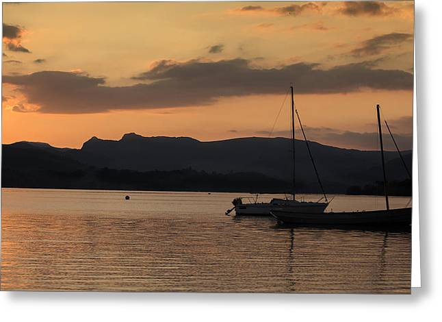 Woodland Scenes Greeting Cards - Sunset Over Lake Windermere Greeting Card by David Henderson