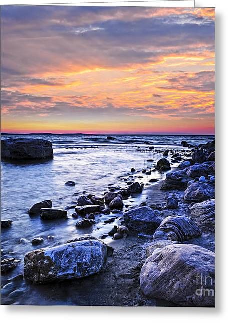 Georgian Bay Greeting Cards - Sunset over water Greeting Card by Elena Elisseeva
