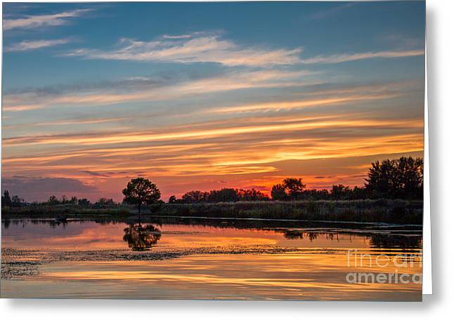 Emmett Valley Greeting Cards - Sunset Reflections Greeting Card by Robert Bales