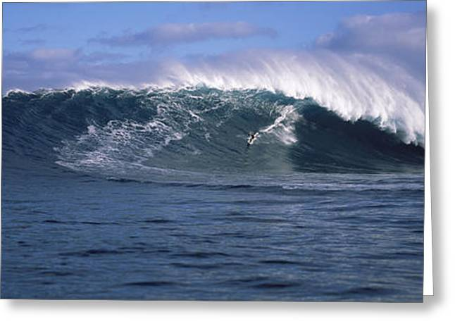 Surfer In The Sea, Maui, Hawaii, Usa Greeting Card by Panoramic Images