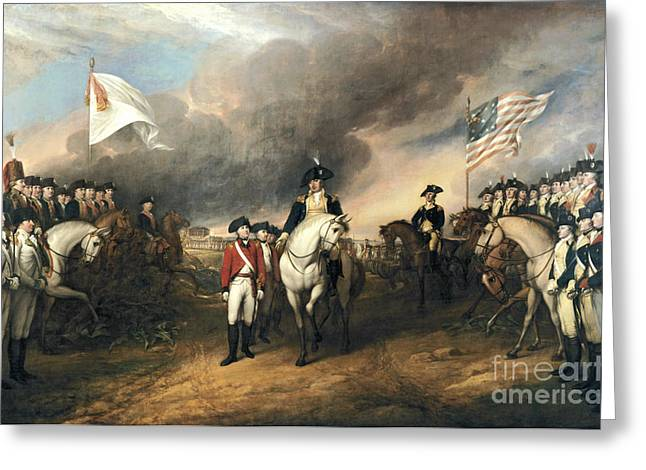 John Trumbull Greeting Cards - Surrender of Lord Cornwallis Greeting Card by Celestial Images