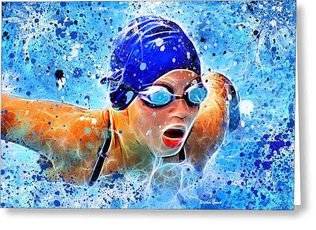 Division Greeting Cards - Swimmer Greeting Card by Stephen Younts