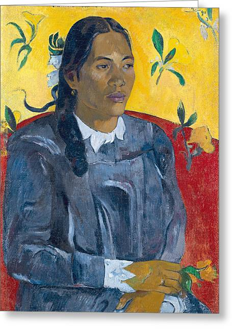 Gauguin Style Greeting Cards - Tahitian Woman with a Flower Greeting Card by Paul Gauguin