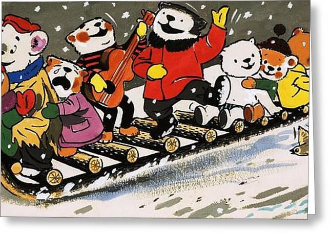Cute Bear Cartoon Greeting Cards - Teddy Bear Sleigh Ride Greeting Card by William Francis Phillipps