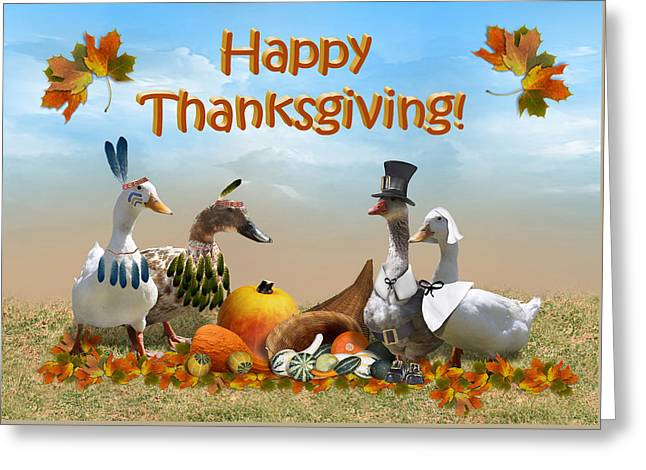 Thanksgiving Ducks Greeting Card by Gravityx9 Designs