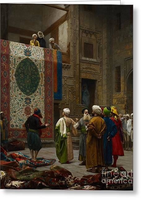 Gerome Greeting Cards - The Carpet Merchant Greeting Card by Jean-Leon Gerome