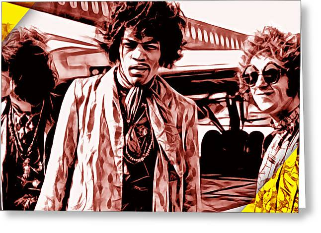 Psychedilic Greeting Cards - The Jimi Hendrix Experience Collection Greeting Card by Marvin Blaine