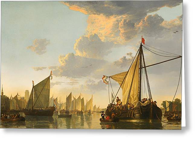 Sailboat Art Greeting Cards - The Maas At Dordrecht Greeting Card by Aelbert Cuyp