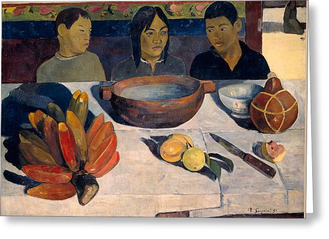 Gauguin Style Greeting Cards - The Meal Greeting Card by Paul Gauguin