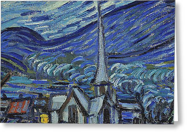 The Starry Night Greeting Card by Vincent Van Gogh