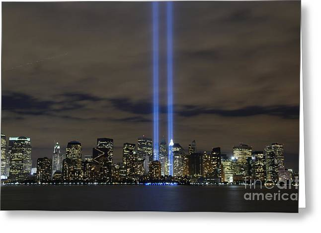 Twin Greeting Cards - The Tribute In Light Memorial Greeting Card by Stocktrek Images