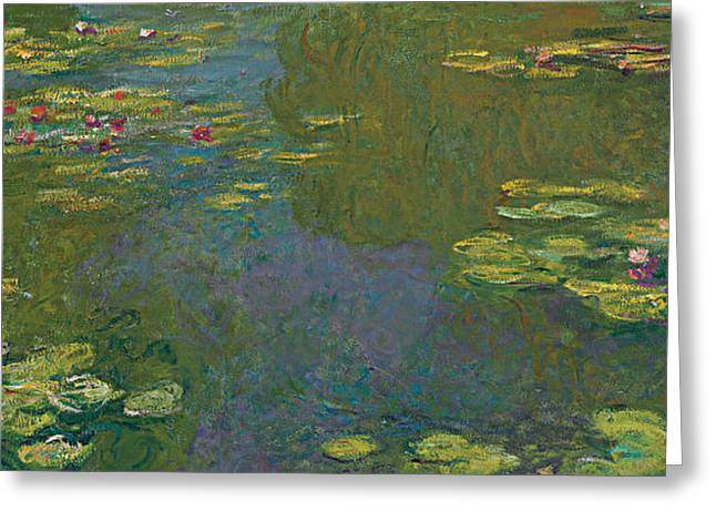 Lilly Pads Greeting Cards - The Waterlily Pond Greeting Card by Claude Monet