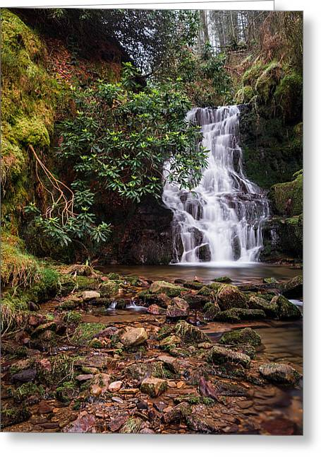 Dreamy Greeting Cards - Three Nooked Shaw Waterfall. Greeting Card by Daniel Kay