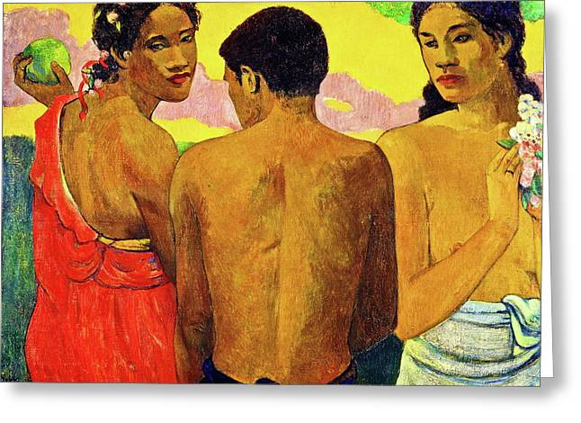 Gauguin Style Greeting Cards - Three Tahitians Greeting Card by Paul Gauguin