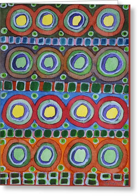 Geometric Art Greeting Cards - 4 Times 4 Equals 16 Greeting Card by Heidi Capitaine