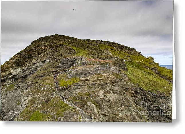 Tintagel Greeting Cards - Tintagel Castle Kastel Dintagel Greeting Card by Brian Roscorla