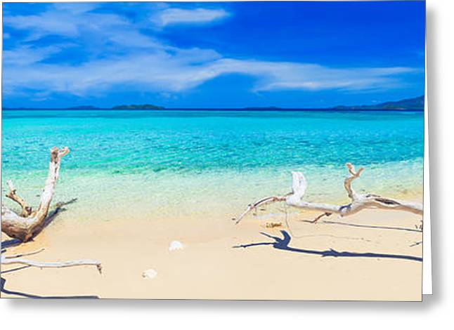 White Photographs Greeting Cards - Tropical beach Malcapuya Greeting Card by MotHaiBaPhoto Prints