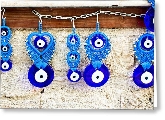 Evil Eyes Greeting Cards - Turkish eye souvenirs Greeting Card by Tom Gowanlock