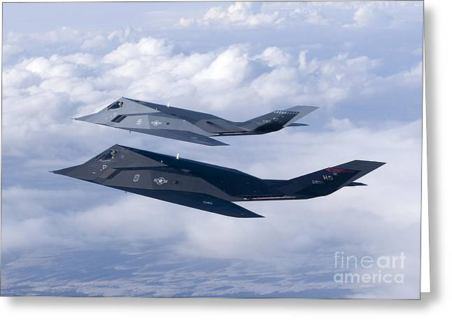 Attack Aircraft Greeting Cards - Two F-117 Nighthawk Stealth Fighters Greeting Card by HIGH-G Productions