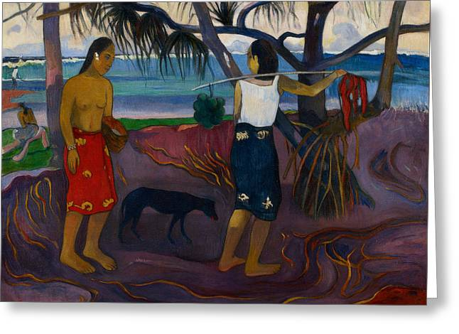 Gauguin Style Greeting Cards - Under the Pandanus II Greeting Card by Paul Gauguin
