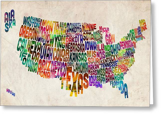 Typography Greeting Cards - United States Text Map Greeting Card by Michael Tompsett