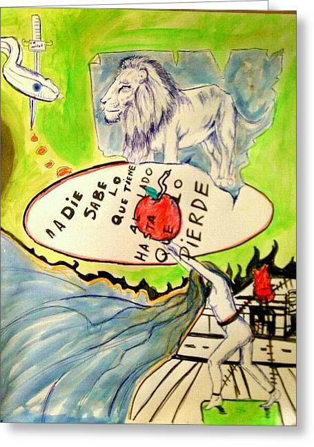 Sea Lions Mixed Media Greeting Cards - Untitled Greeting Card by Andres  Madariaga