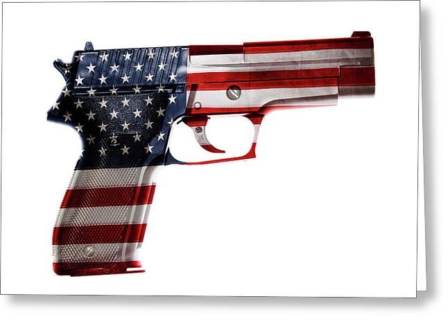 Usa Gun  Greeting Card by Les Cunliffe