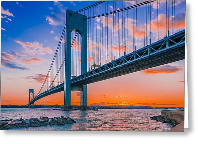 River View Greeting Cards - Verrazano Bridge Greeting Card by Anatoliy Urbanskiy