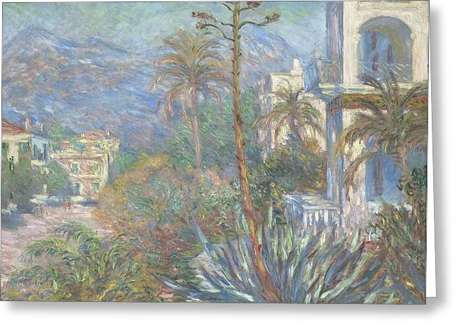 Mountain Road Greeting Cards - Villas at Bordighera Greeting Card by Claude Monet