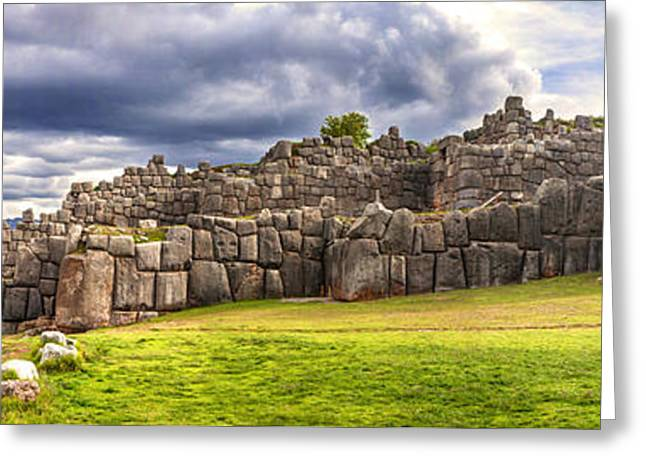 Civilization Greeting Cards - Walls of Sacsayhuaman Fortress Cusco Peru Greeting Card by Eduardo Huelin