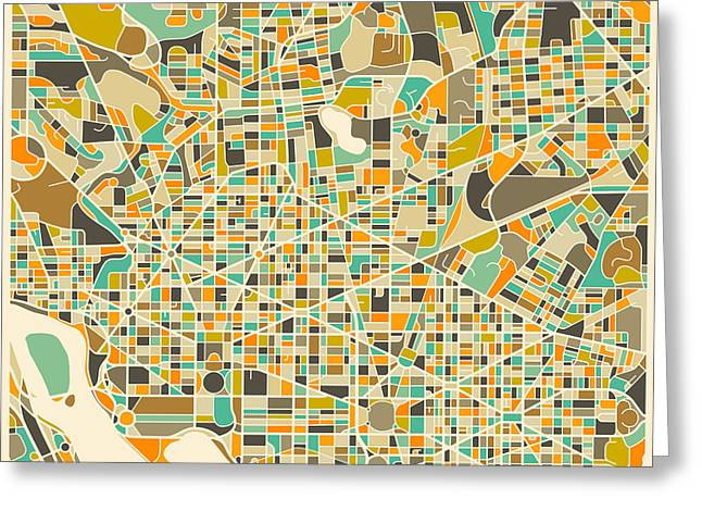Washington Dc Map Greeting Card by Jazzberry Blue
