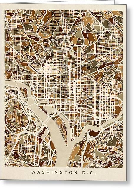 Washington D.c. Digital Art Greeting Cards - Washington DC Street Map Greeting Card by Michael Tompsett