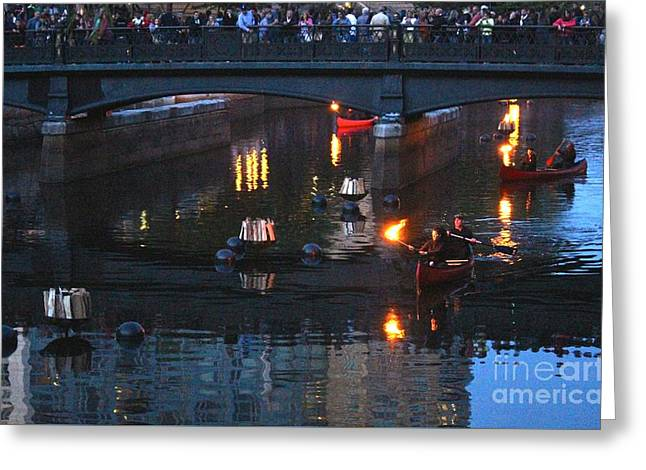 Canoe Photographs Greeting Cards - WaterFire Greeting Card by Deena Withycombe
