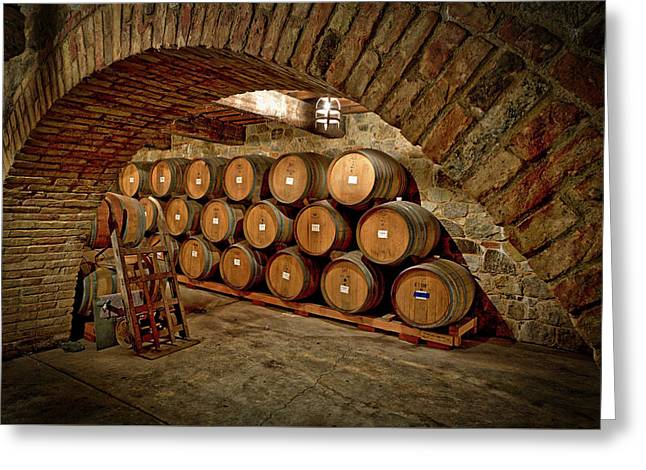 Wine Barrels Greeting Card by Mountain Dreams