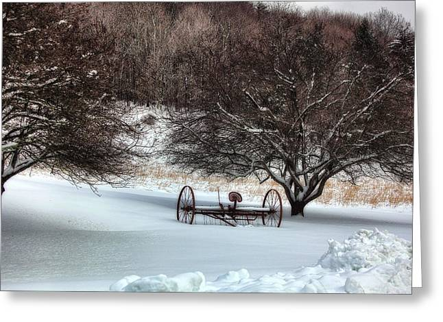Cross River Greeting Cards - Winter Scene Greeting Card by June Marie Sobrito